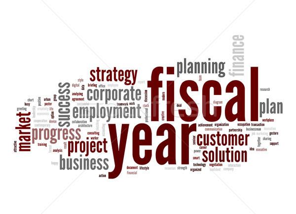Fiscale jaar woordwolk business voorraad tag Stockfoto © tang90246