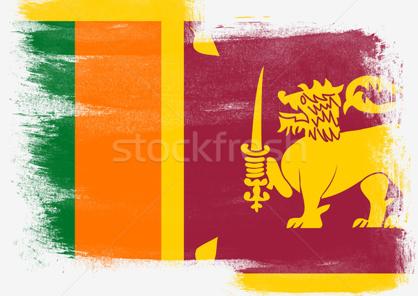 Flag of Sri Lanka painted with brush Stock photo © tang90246