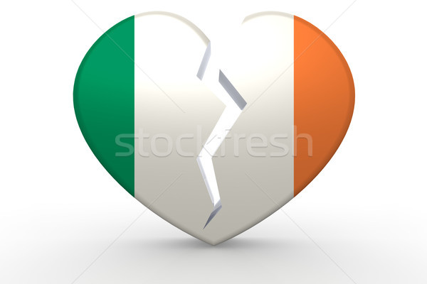 Broken white heart shape with Ireland flag Stock photo © tang90246