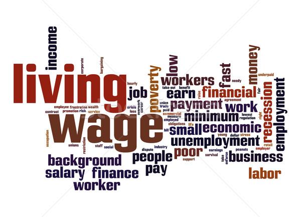 Vida salario nube de palabras negocios trabajo fondo Foto stock © tang90246