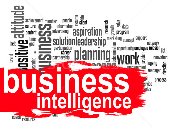 Business intelligence word cloud with red banner Stock photo © tang90246