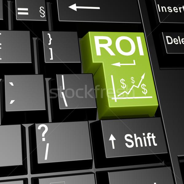 Roi szó zöld belépés billentyűzet kép Stock fotó © tang90246