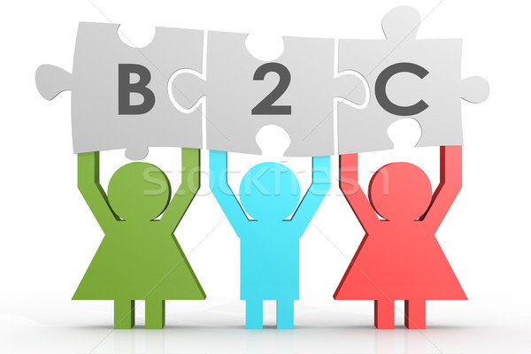 B2C - Business to Consumer puzzle in a line Stock photo © tang90246