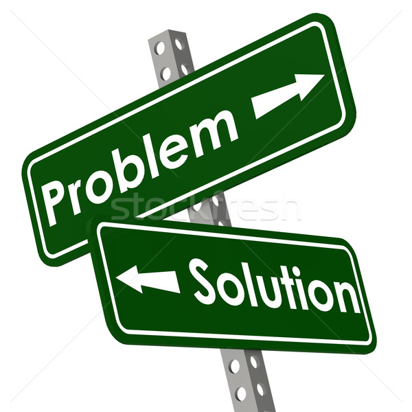 Problem and solution road sign in green color Stock photo © tang90246