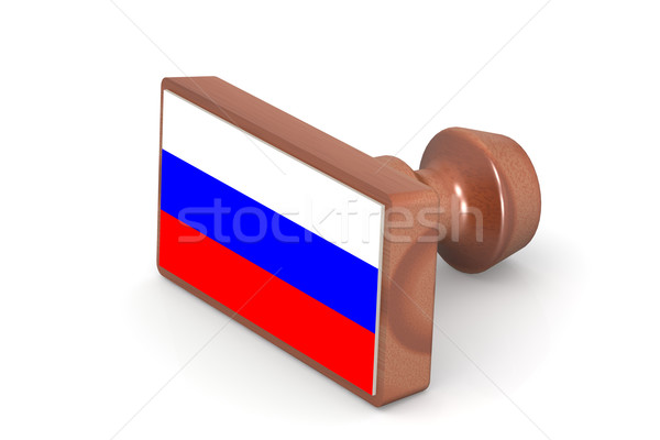 Wooden stamp with Russia flag Stock photo © tang90246