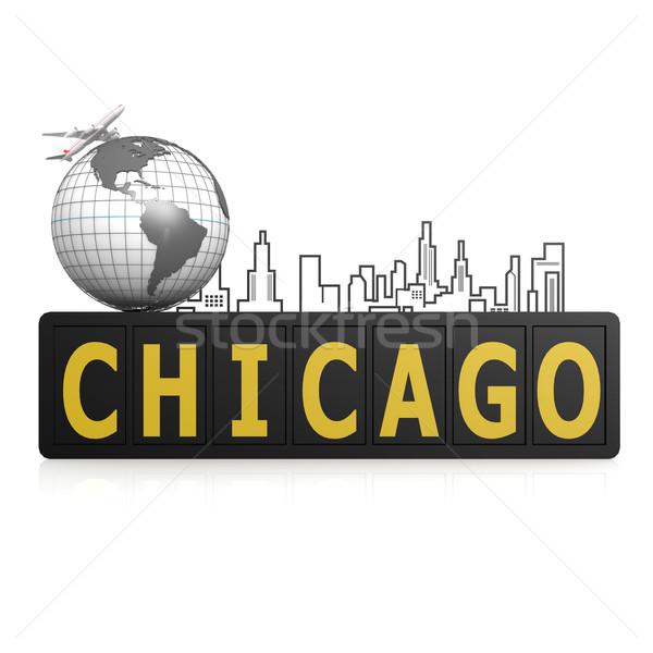 Chicago város Föld utazás városi repülőgép Stock fotó © tang90246