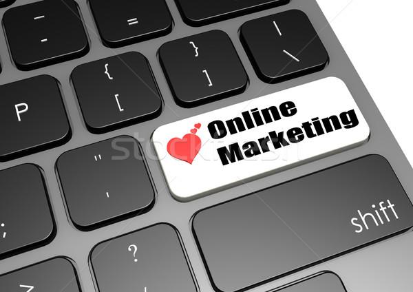 Интернет маркетинг клавиатура бизнеса деньги ключевые корпоративного Сток-фото © tang90246