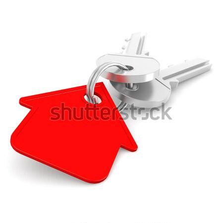 Ház kulcsok piros kulcs lánc kép Stock fotó © tang90246