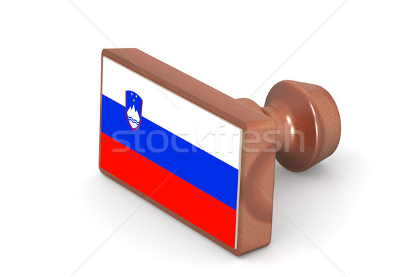Wooden stamp with Slovenia flag Stock photo © tang90246