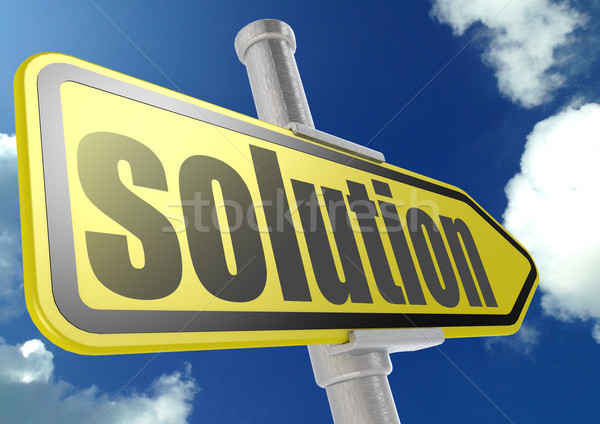 Yellow road sign with solution word under blue sky Stock photo © tang90246