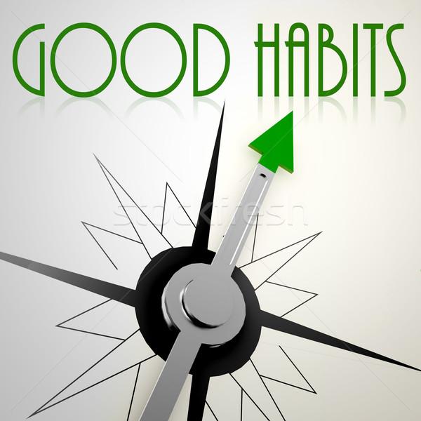 Good Habits on green compass Stock photo © tang90246