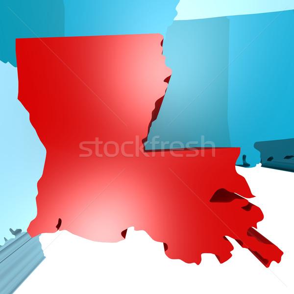 Louisiana mappa blu USA immagine reso Foto d'archivio © tang90246