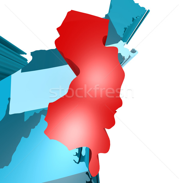 New Jersey map on blue USA map Stock photo © tang90246