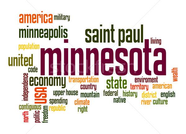 Minnesota nuvem da palavra nuvem liberdade história gráfico Foto stock © tang90246