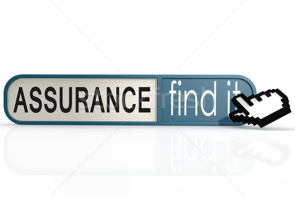 Assurance word on the blue find it banner Stock photo © tang90246