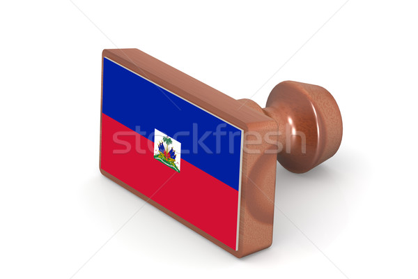 Wooden stamp with Haiti flag Stock photo © tang90246