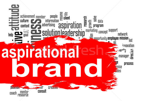 Aspirational brand word cloud with red banner Stock photo © tang90246