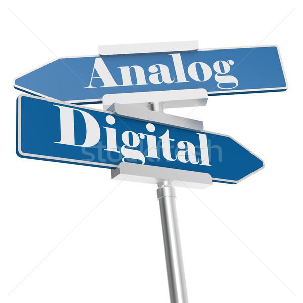 Analog digitalen Zeichen isoliert weiß 3D Stock foto © tang90246