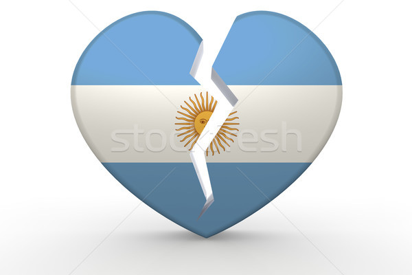 Broken white heart shape with Argentina flag Stock photo © tang90246