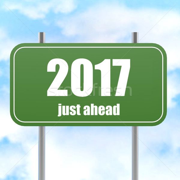 Street Sign With 2017 Just Ahead in Blue Sky Stock photo © tang90246