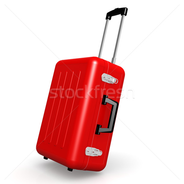 Red luggage in angle position Stock photo © tang90246
