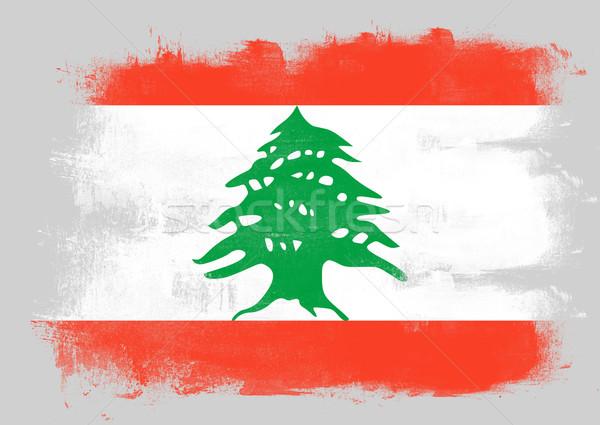 Bayrak Lübnan boyalı fırçalamak katı soyut Stok fotoğraf © tang90246