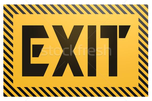 Szalag kijárat szó citromsárga fekete ajtó Stock fotó © tang90246