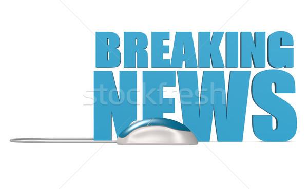 Rendkívüli hírek szó izolált kék számítógép egér 3D Stock fotó © tang90246