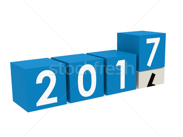 New year 2017 Blocks in blue Stock photo © tang90246