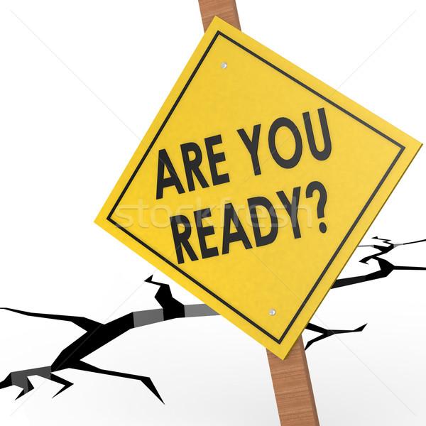 Klaar teken boord weg tijd informatie Stockfoto © tang90246
