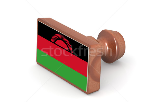 Wooden stamp with Malawi flag Stock photo © tang90246