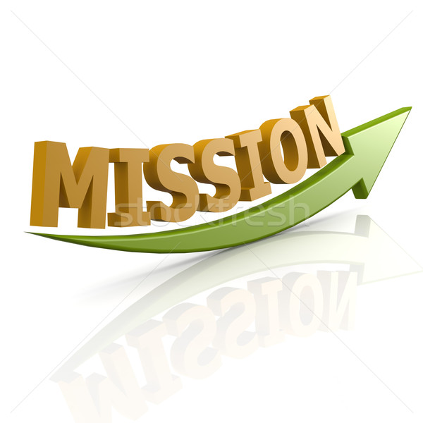 Green arrow with mission word Stock photo © tang90246