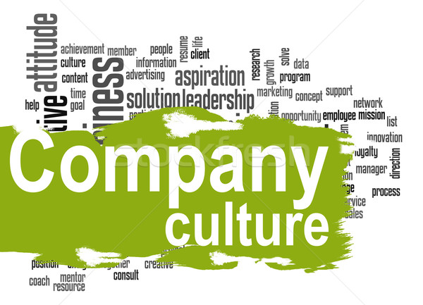 Company culture word cloud with green banner Stock photo © tang90246
