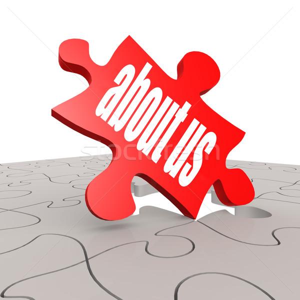 Puzzel geschreven woord over ons afbeelding gerenderd Stockfoto © tang90246