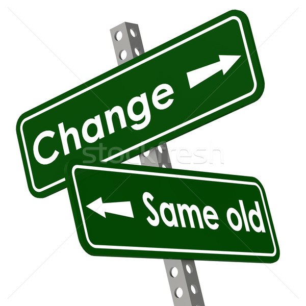 Change and same old road sign in green color Stock photo © tang90246