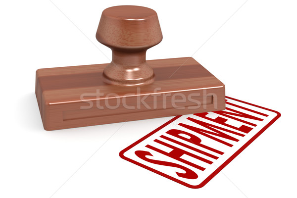 Wooden stamp shipment with red text Stock photo © tang90246