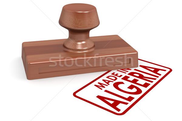 Stockfoto: Houten · stempel · Algerije · afbeelding · gerenderd