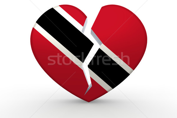 Broken white heart shape with Trinidad and Tobago flag Stock photo © tang90246