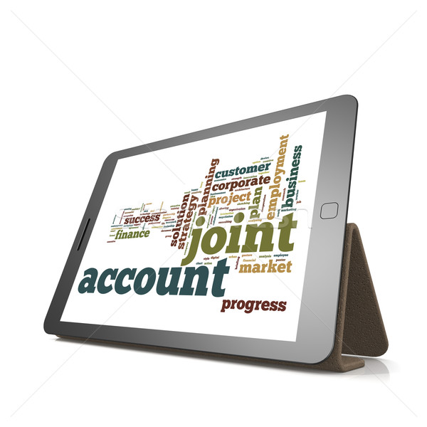 Joint account word cloud on tablet Stock photo © tang90246