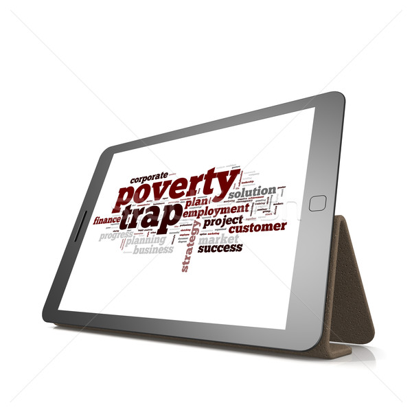Poverty trap word cloud on tablet  Stock photo © tang90246
