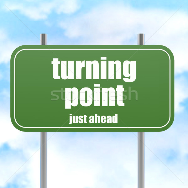 Turning point on green road sign Stock photo © tang90246
