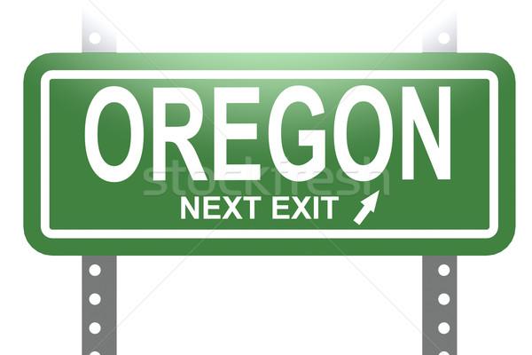 Сток-фото: Орегон · зеленый · знак · совета · изолированный · изображение