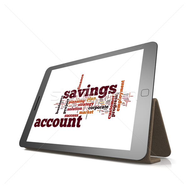 Risparmio conto word cloud tablet immagine reso Foto d'archivio © tang90246