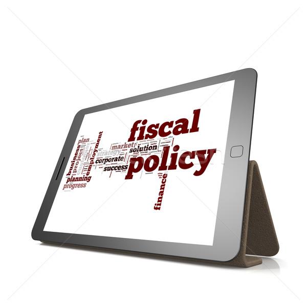 Fiscale woordwolk tablet afbeelding gerenderd Stockfoto © tang90246