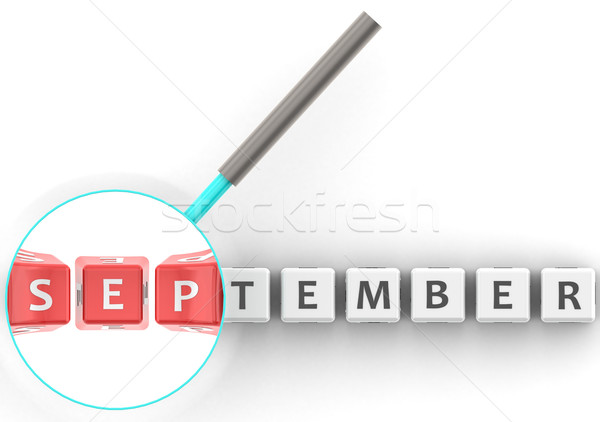 September puzzle with magnifying glass Stock photo © tang90246