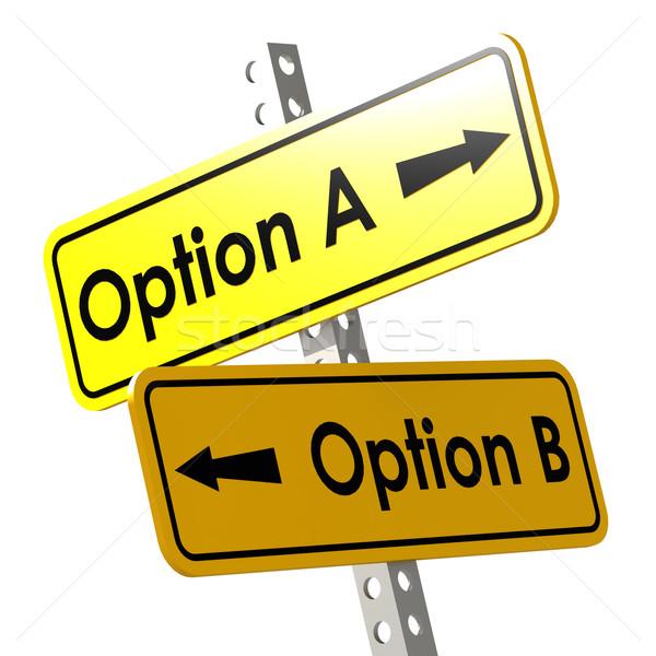 Optie Geel verkeersbord afbeelding gerenderd Stockfoto © tang90246