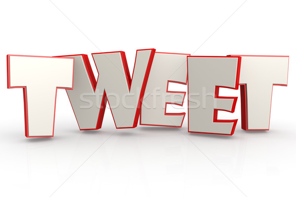 Red tweet word on white background Stock photo © tang90246