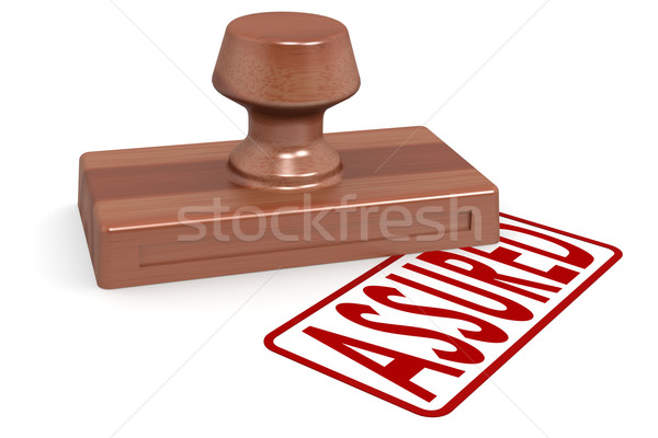 Wooden stamp assured with red text Stock photo © tang90246