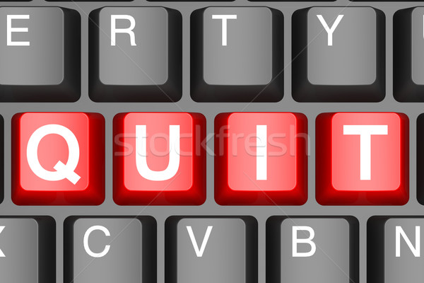 Red quit button on modern computer keyboard Stock photo © tang90246
