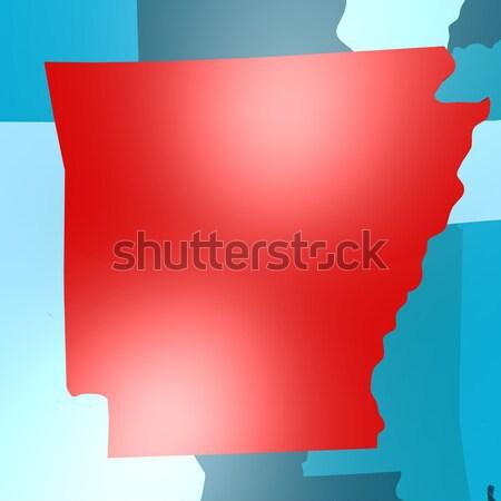 Айова карта синий США изображение оказанный Сток-фото © tang90246